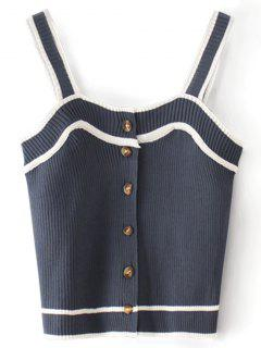 Contrasting Knitted Button Up Tank Top - Purplish Blue