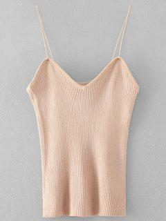 Cami Knitting Ribbed Tank Top - Apricot