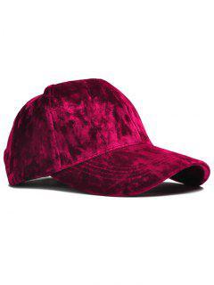 Adjustable Velvet Baseball Hat - Wine Red