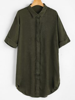 Short Sleeve Button Up Shirt Dress - Army Green M