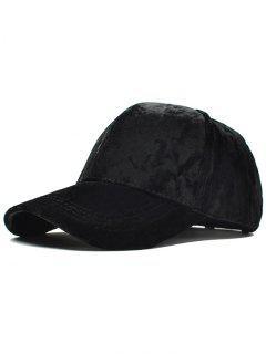 Adjustable Velvet Baseball Hat - Black
