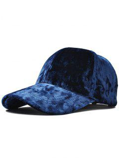 Adjustable Velvet Baseball Hat - Deep Blue