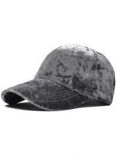 Adjustable Velvet Baseball Hat - Gray