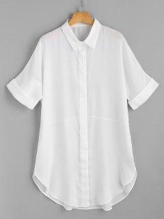 Short Sleeve Button Up Shirt Dress - White S