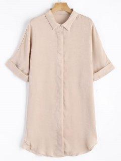 Short Sleeve Button Up Shirt Dress - Apricot L