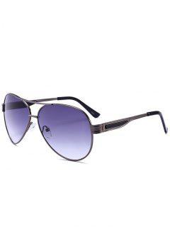 Metal Frame Crossbar Pilot Sunglasses - Black Frame+grey Lens