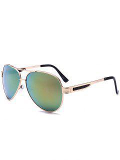 Metal Frame Crossbar Pilot Sunglasses - Yellow + Green