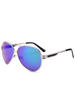 Metal Frame Crossbar Pilot Sunglasses - Blue Green