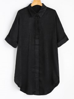 Short Sleeve Button Up Shirt Dress - Black M