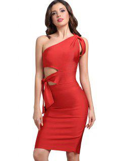 One Shoulder Cut Out Fitted Dress - Bright Red S