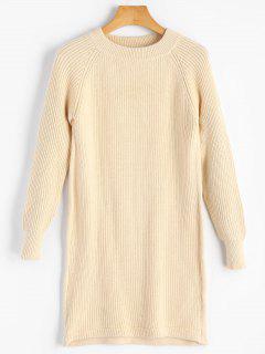 Einfacher Langer Pullover Mit Rundhalsausschnitt - Aprikose S