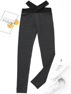 Criss-cross Active Leggings - Dark Grey M
