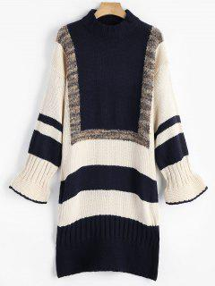 Striped Contrast Sweater Dress - Purplish Blue S