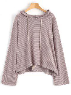 Drawstring Waist Tunic Striped Hoodie - Pale Pinkish Grey