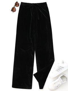 Casual Tied Velvet Pants - Black