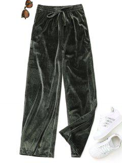 Casual Tied Velvet Pants - Green