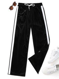 Drawstring Two Tone Velvet Pants - Black