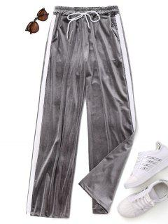 Drawstring Two Tone Velvet Pants - Gray
