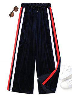Drawstring Striped Velvet Pants - Blue