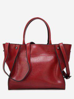 Faux Leather Studs Shoulder Bag - Wine Red