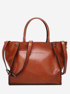Faux Leather Studs Shoulder Bag - Brown