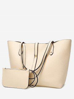 Rivets 2 Pieces Shoulder Bag Set - Off-white