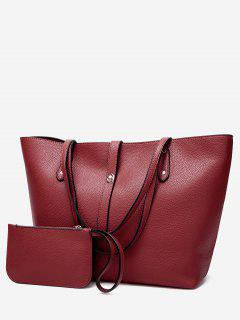 Rivets 2 Pieces Shoulder Bag Set - Wine Red
