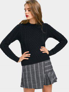 Fitting Pullover Cable Knit Sweater - Black M