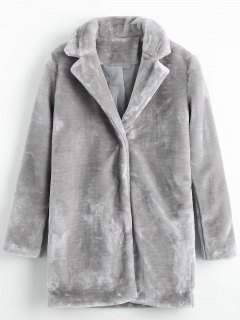 Snap Button Pockets Faux Fur Coat - Gray M