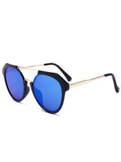 Metal Full Frame Crossbar Sunglasses - Light Blue