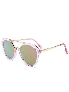 Metal Full Frame Crossbar Sunglasses - Gold Frame + Purple Green Lens