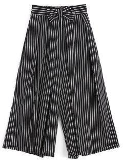 Pantalon à Rayures Larges à Rayures Bowknot - Rayure S