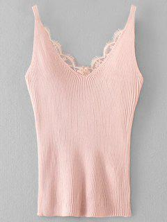 Knitting Ribbed Lace Panel Tank Top - Pink