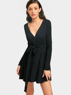 Plunging Neck Mini Surplice Dress - Black M