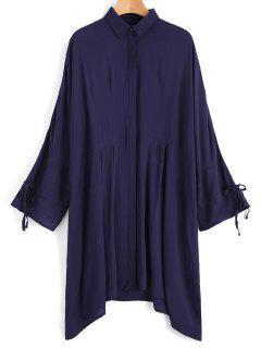 Bow Tied Sleeve Oversized Shirt - Purplish Blue L