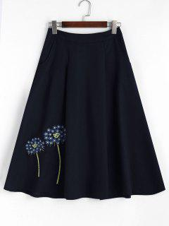 Floral Embroidered Midi A-line Skirt - Blue L