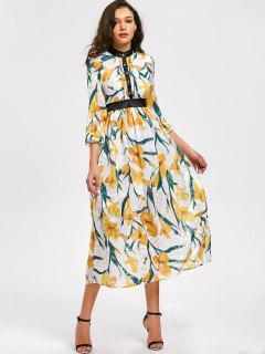 Hohe Taille Blumendruck Flare Kleid - Blumen L