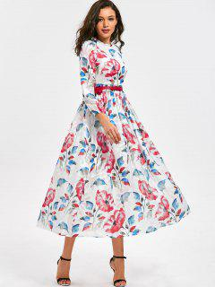 High Waist Flower Print Belted Dress - Floral M