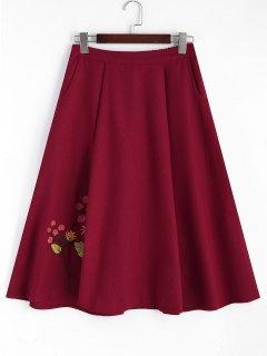Falda Bordada Floral De Midi A-line - Rojo L