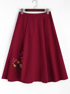 Floral Embroidered Midi A-line Skirt - Red M