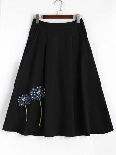 Floral Embroidered Midi A-line Skirt - Blue And Black M