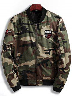 Patch Design Camouflage Bomber Jacket - Coffee M