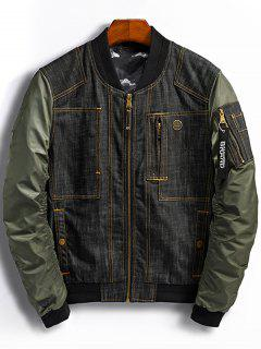 Denim Panel Bomber Jacket With Pocket Detail - Green M