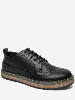 PU Leather Wingtip Casual Shoes - Black 42