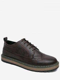 PU Leather Wingtip Casual Shoes - Brown 40