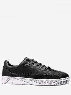 PU Leather Whipstitch Casual Shoes - Black 44