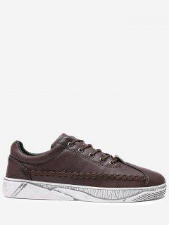PU Leather Whipstitch Casual Shoes - Brown 42