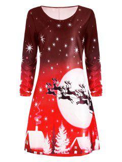 Christmas Deer Long Sleeve Dress - Red M