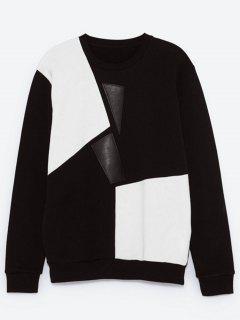 Crew Neck Color Block Panel PU Leather Sweatshirt - Black 2xl