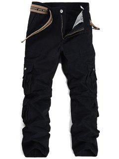 Zipper Fly Pleat Pockets Straight Leg Cargo Pants - Black 32
